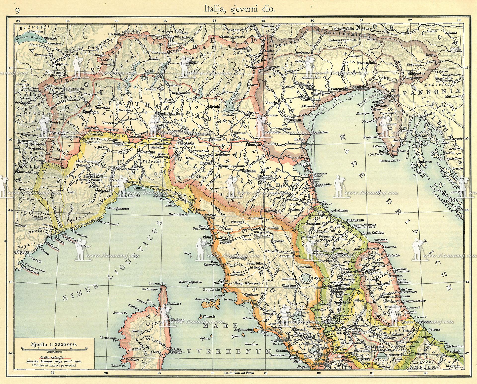 mapa severna italija Istorijska fotografija Italija, severni deo :: FotoMuzej  mapa severna italija